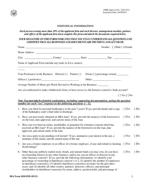 SBA Form 1010-IND  Fillable Pdf