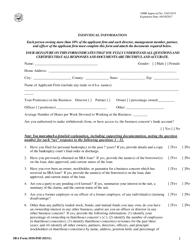 "SBA Form 1010-IND ""8(A) Business Development (Bd) Program Application Individual Information"""