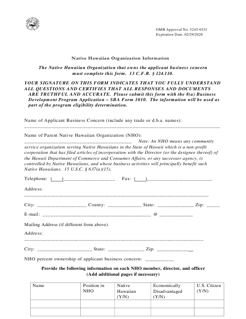 SBA Form 1010-NHO  Fillable Pdf