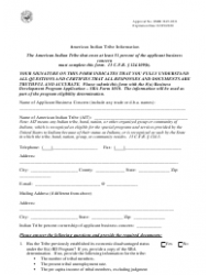 SBA Form 1010-AIT 8(A) Business Development (Bd) Program Application American Indian - Tribally-Owned Concern