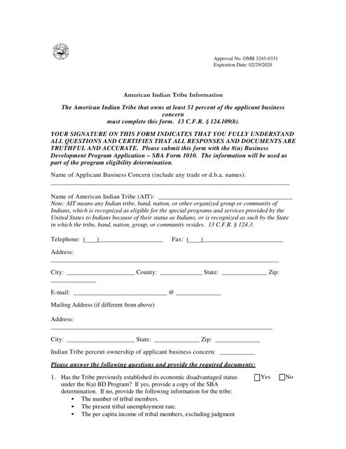 SBA Form 1010-AIT  Fillable Pdf