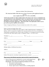 """SBA Form 1010-AIT """"8(A) Business Development (Bd) Program Application American Indian - Tribally-Owned Concern"""""""