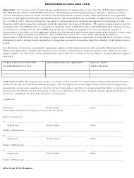 "SBA Form 1010 ""Representative Form 1010 Business"""