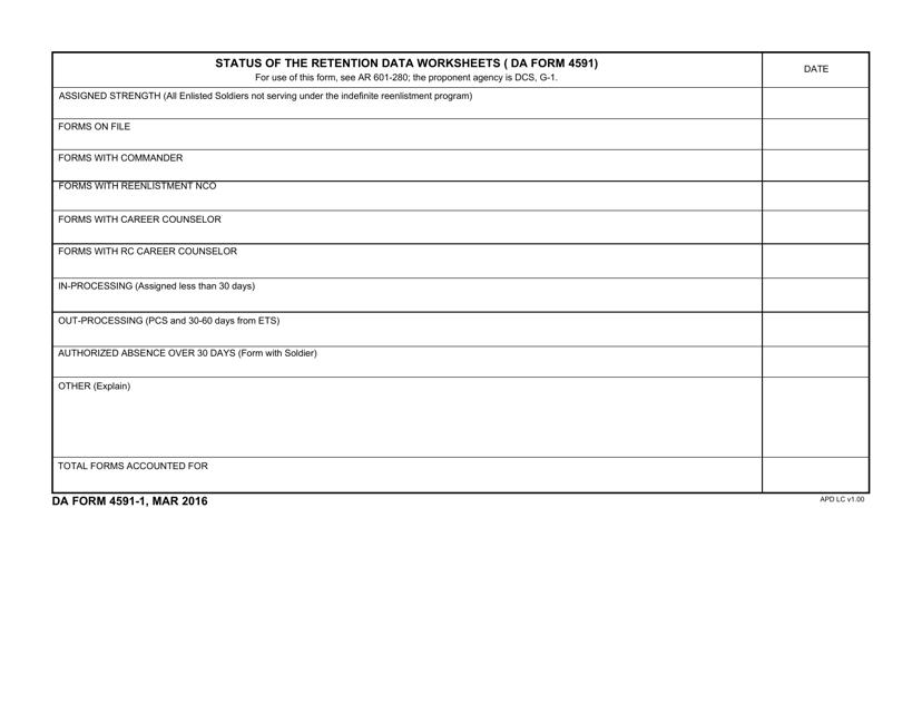 DA Form 4591-1 Fillable Pdf