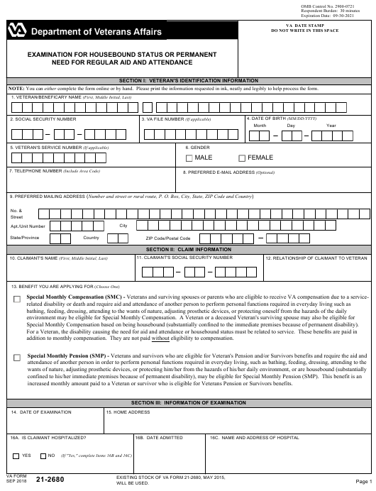 VA Form 21-2680 Fillable Pdf
