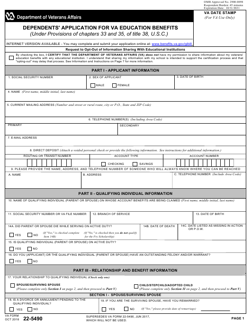 VA Form 22-5490 Fillable Pdf