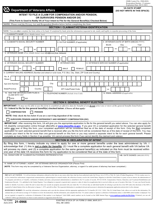 VA Form 21-0966 Fillable Pdf