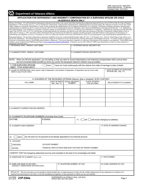 VA Form 21P-534A Fillable Pdf