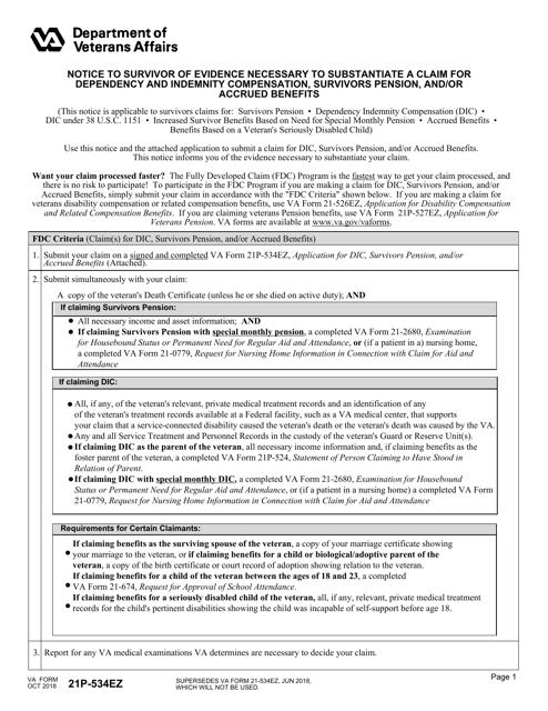 VA Form 21P-534EZ  Printable Pdf