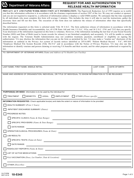 VA Form 10-5345  Printable Pdf