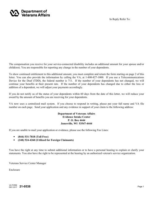 VA Form 21-0538 Fillable Pdf