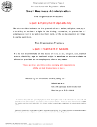 SBA Form 722 Equal Employment Opportunity Statement