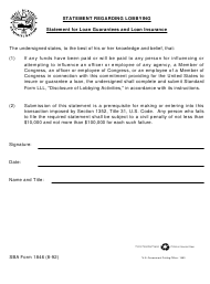 "SBA Form 1846 ""Statement Regarding Lobbying - Statement for Loan Guarantees and Loan Insurance"""