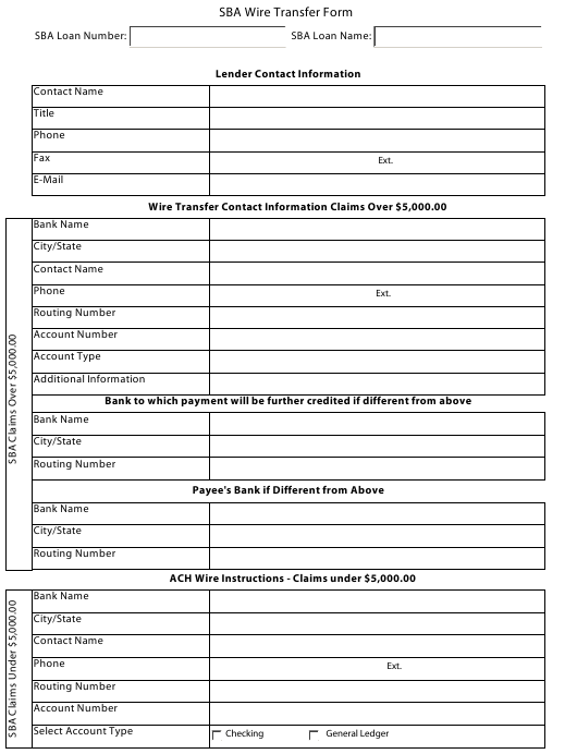 Sba Wire Transfer Form Download Fillable Pdf Templateroller