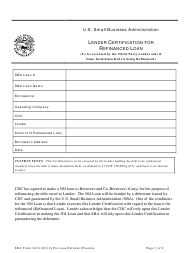 "SBA Form 2416 ""Lender Certification for Refinanced Loan"""