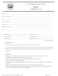 "SBA Form 1505 ""Note (CDC/504 Loans)"""