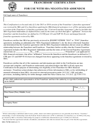 "SBA Form 2463 ""Franchisor Certification for Use With SBA Negotiated Addendum"""