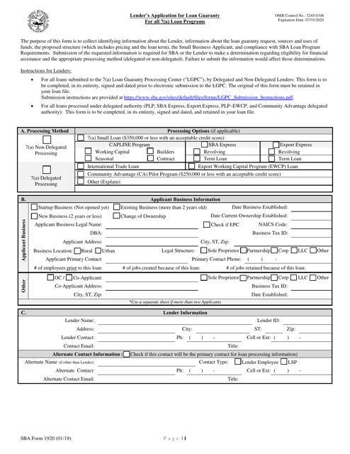SBA Form 1920 Printable Pdf