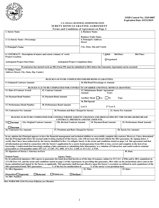 SBA Form 990  Printable Pdf