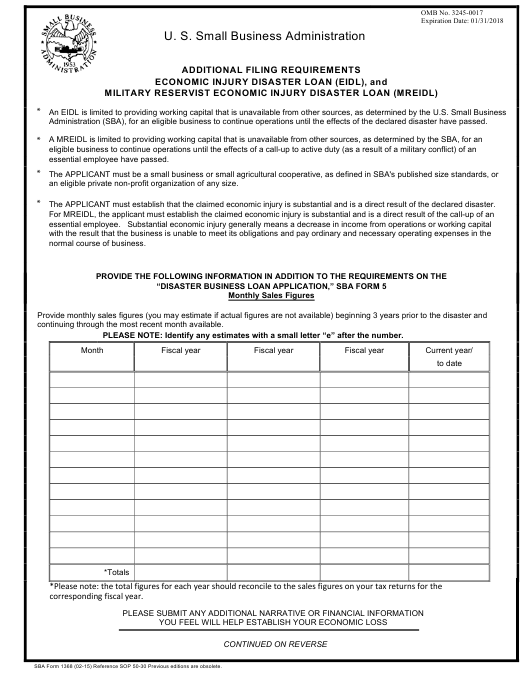 SBA Form 1368  Printable Pdf