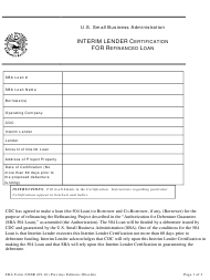 "SBA Form 2288R ""Interim Lender Certification for Refinanced Loan"""