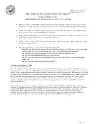 "SBA Form 1366 ""Borrower's Progress Certification - SBA Disaster Assistance Program"""