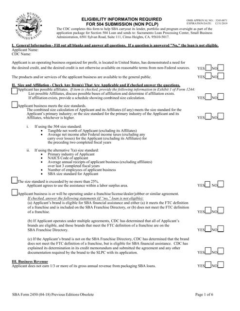 SBA Form 2450 Download Fillable PDF, 504 Eligibility Checklist (Non