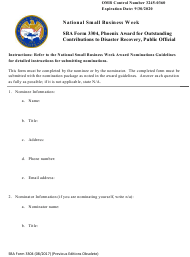 "SBA Form 3304 ""Phoenix Award for Outstanding Contributions to Disaster Recovery, Public Official"""