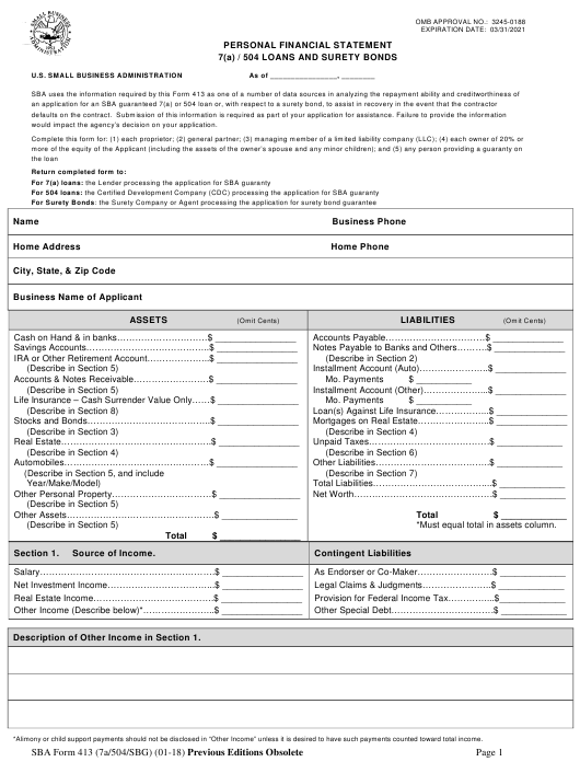 SBA Form 413  Printable Pdf
