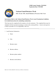 "SBA Form 3301 ""Nomination Form for Small Business Person of the Year - National Small Business Week"""