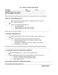 """Sli - Articulation Checklist"" - Alabama"