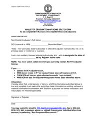 """Adjuster Designation of Home State Form"" - Kentucky"