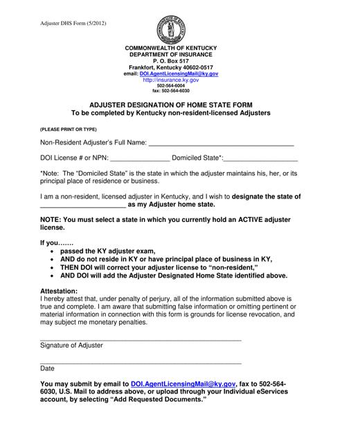 """Adjuster Designation of Home State Form"" - Kentucky Download Pdf"