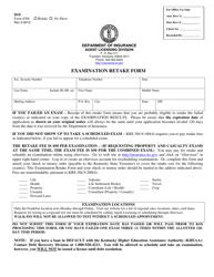 "Form 8304 ""Examination Retake Form"" - Kentucky"