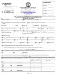 """Form 8301 """"Naic Individual Insurance License Application"""" - Kentucky"""