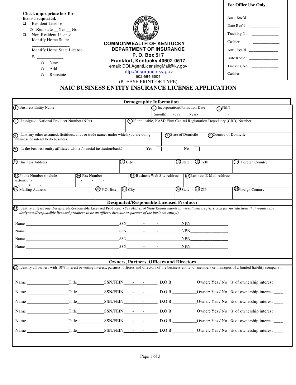 Form 8301 Be Download Printable Pdf Or Fill Online Naic Business Entity Insurance License Application Kentucky Templateroller