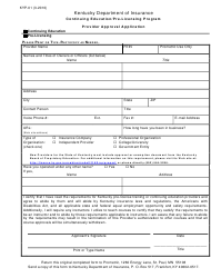 Form KYP-01 Provider Approval Application - Continuing Education/Pre-licensing Program - Kentucky