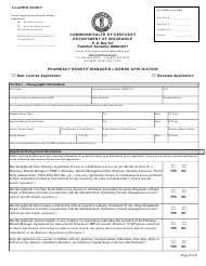 """Form PBM """"Pharmacy Benefit Manager License Application"""" - Kentucky"""