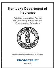 """""""Provider Information Packet for Continuing Education and Pre-licensing Education"""" - Kentucky"""