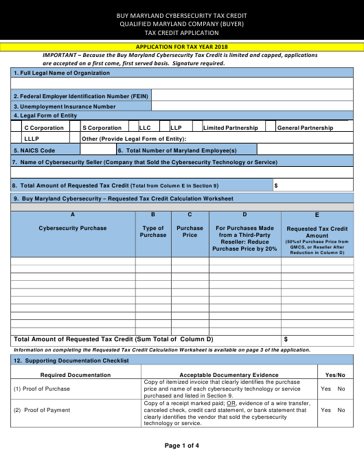 """""""Qualified Maryland Company (Buyer) Tax Credit Application Form"""" - Maryland Download Pdf"""