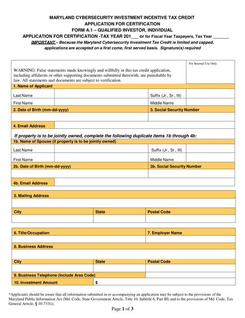 Form A.1  Printable Pdf