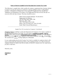 "Sample ""Notice of Intent to Qualify for the Maryland Job Creation Tax Credit"" - Maryland"