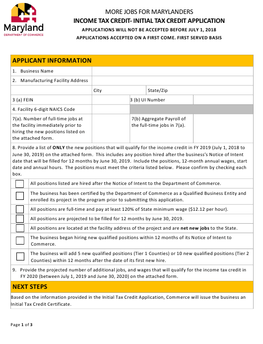 Income Tax Credit- Initial Tax Credit Application Form