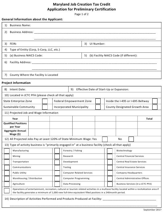"""""""Application for Preliminary Certification - Maryland Job Creation Tax Credit"""" - Maryland Download Pdf"""