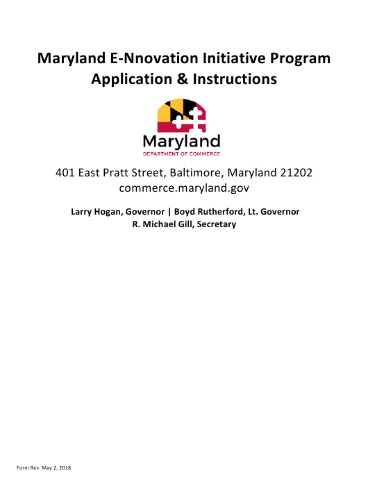 """Application for Allocation of Matching Funds - Maryland E-Nnovation Initiative Program"" - Maryland Download Pdf"