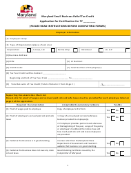 """Application for Certification - Maryland Small Business Relief Tax Credit"" - Maryland"