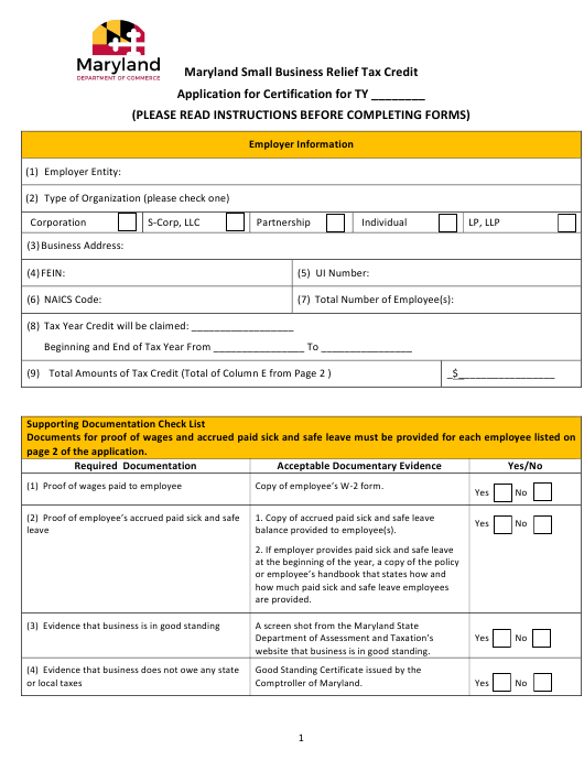 """""""Application for Certification - Maryland Small Business Relief Tax Credit"""" - Maryland Download Pdf"""