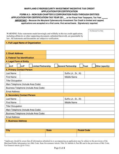 Form A.3  Printable Pdf