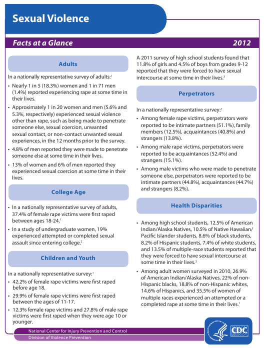 2012 Sexual Violence - Facts at a Glance Download Pdf