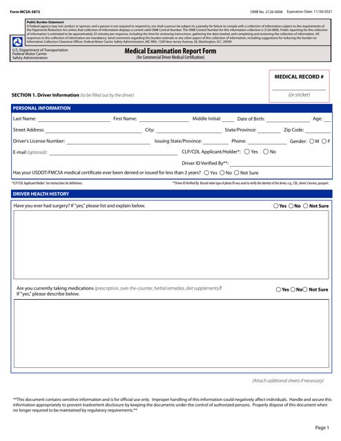 Form MCSA-5875  Printable Pdf